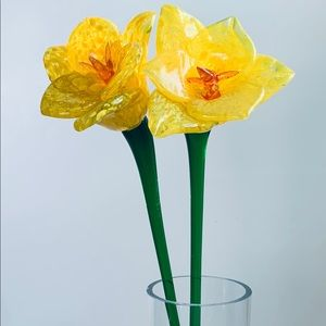 Hand Blown Large Daffodil Glass Flowers Set of 2